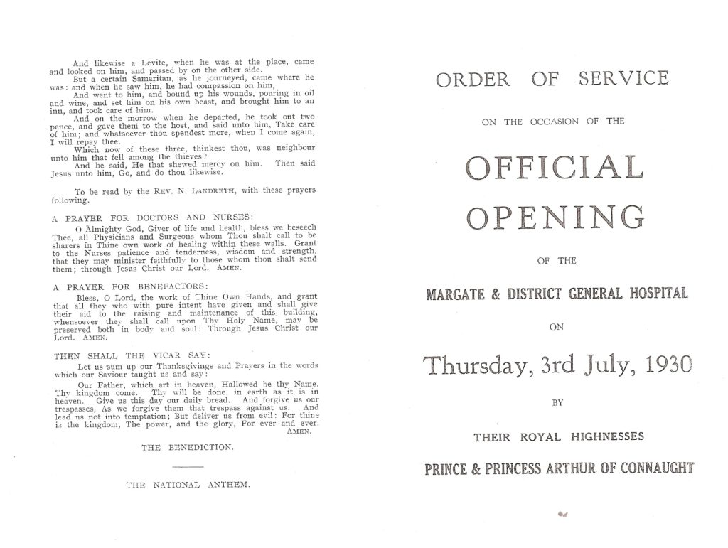 Opening Margate & District General Hospital in 1930