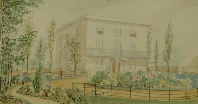 Watercolour of Northdown House (Col Baker's house) before it was extensively added to in the 1870s